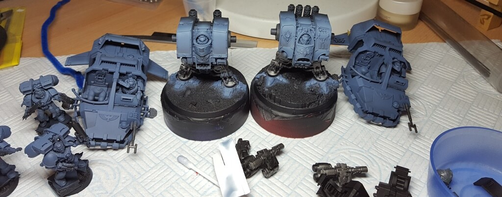 Basecoated Space Wolves Dreadnoughts and Land Speeders