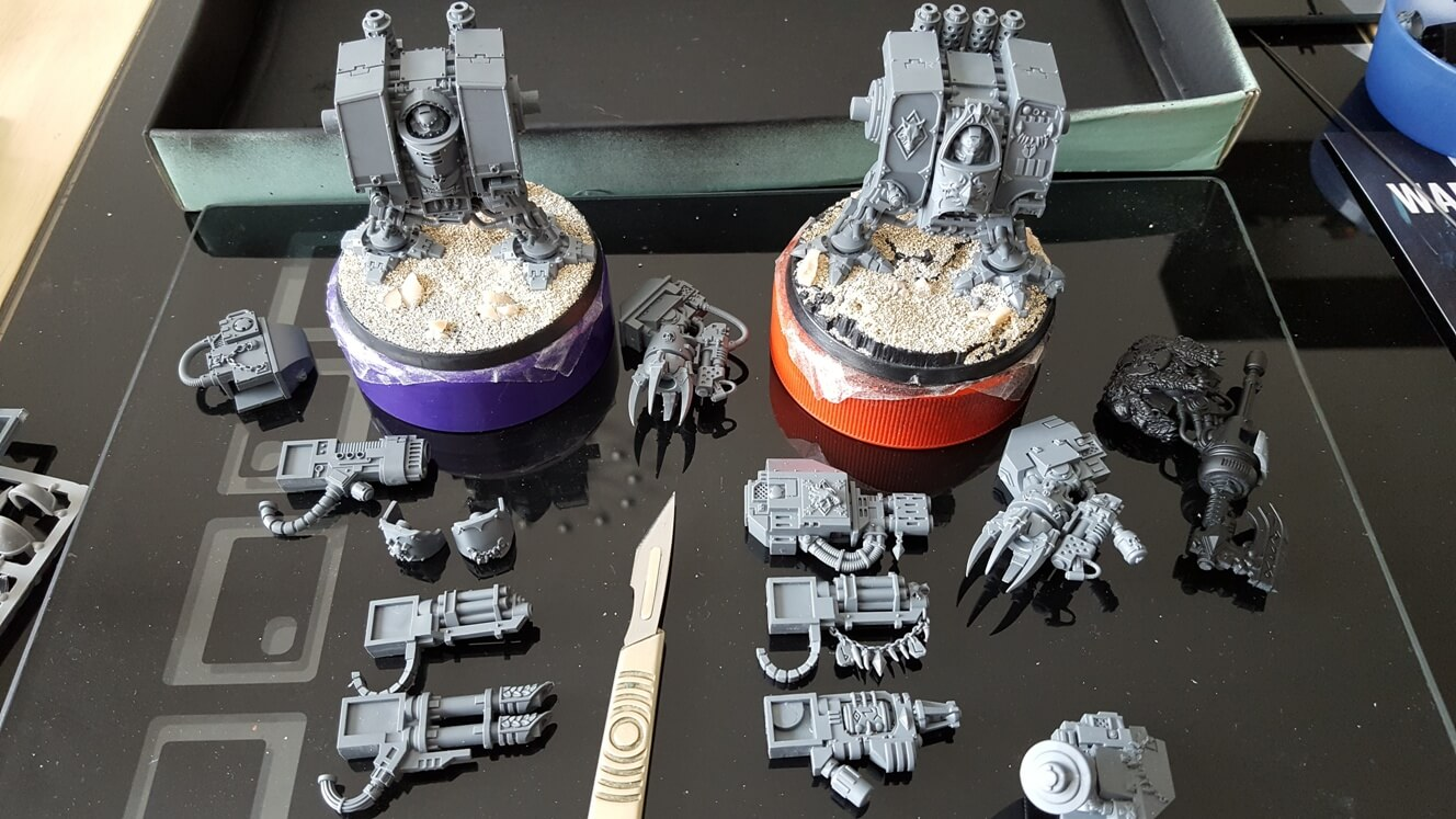 Kit Bashed Space Wolves Dreadnoughts